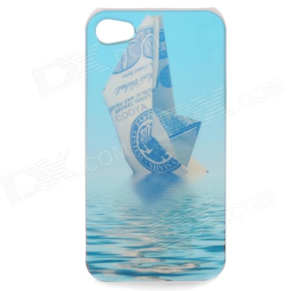 Sailing Boat Pattern Protective Plastic Case with Screen Protector for Iphone 4 / 4S nillkin protective plastic back case with screen protector for iphone 4 4s red black