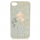 Jigsaw Puzzle Pattern Protective Plastic Case with Screen Protector for Iphone 4 / 4S - Brown
