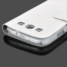 Protective PU Leather Case w/ Card Slots for Samsung Galaxy S3 i9300 - White