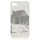 Small House Pattern Protective Plastic Case with Screen Protector for Iphone 4 / 4S