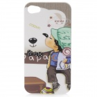 Cute Boy & Bear Pattern Protective Plastic Case with Screen Protector for Iphone 4 / 4S