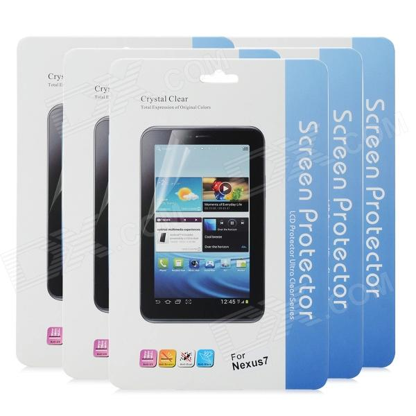 Protective Glossy Screen Protector Guard Film for Google Nexus7 (5 PCS) protective clear screen protector film guard for google nexus 7 ii transparent 3 pcs