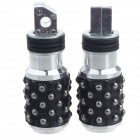 DIY Grenade Style Motorcycle Parts Back Pedals - Black + Silver (Pair)