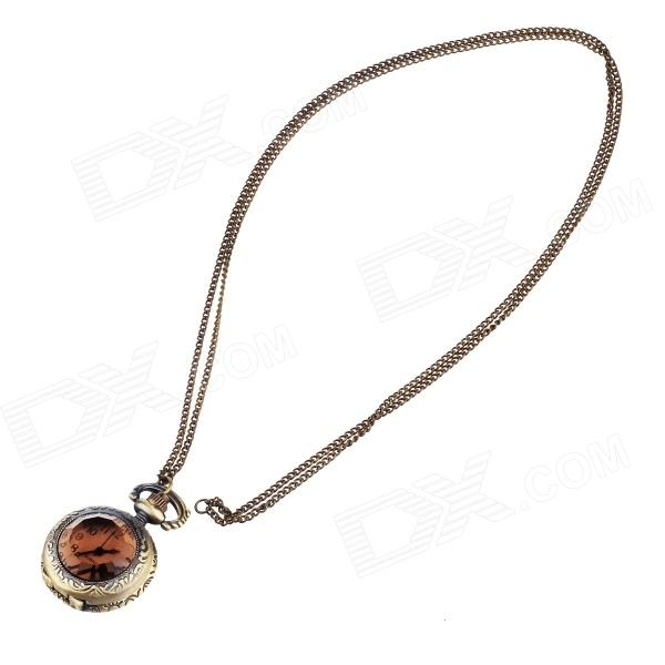 Vintage Elegant Analog Quartz Necklace Watch - Bronze 4 design bronze vintage quartz pocket watch free mason sword art online gear necklace pendant chain womens mens gifts p1123