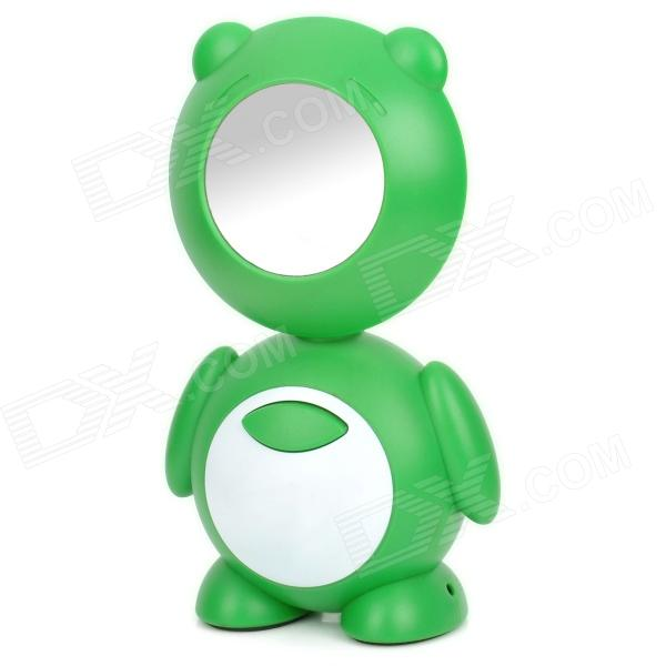 Cute Cartoon Style Rechargeable 10-LED White Light Desk Lamp w/ Mirror - Green