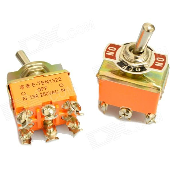 Plastic + Copper On-Off-On Toggle Switches - Orange (2 PCS) automatic on off photocell street light switch photo control sensor switches safe switches