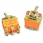 Plastic + Copper On-Off-On Toggle Switches - Orange (2 PCS)
