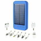 5000mAh Portable Solar Powered Mobile Power Battery Charger w / LED Flashlight / 8 Adapter - Blue