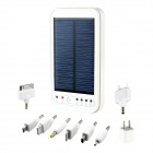 5000mAh Portable Solar Powered Mobile Power Battery Charger w / LED Flashlight / 8 Adapter - White