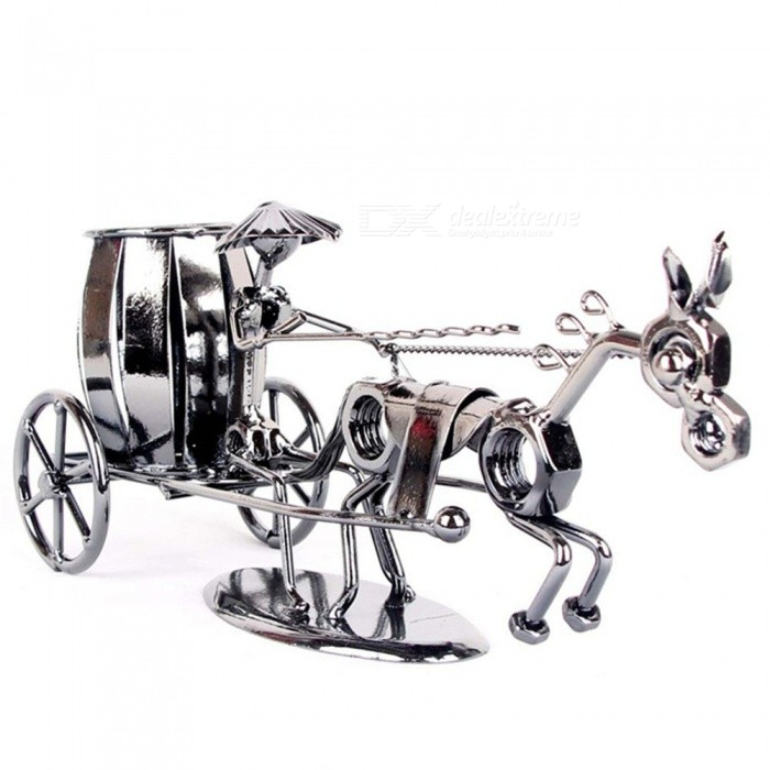 Creative Carriage Style Metal Pen Holder - Deep Grey
