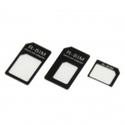 NANO SIM Card to Micro / Standard SIM Card Adapter Set for Iphone 4 / 4S / 5 - Black