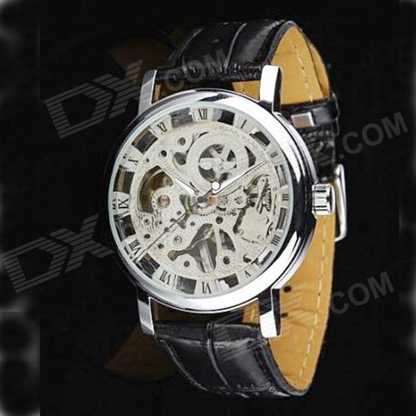 Stylish Skeleton Manual Winding Mechanical Wrist Watch for Men - Silver esp 07 esp8266 wifi serial transceiver module