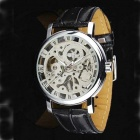 Men's Stylish Skeleton Manual Winding Mechanical Wrist Watch - Silver