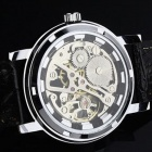 Stylish Skeleton Manual Winding Mechanical Wrist Watch for Men - Silver