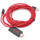 MHL Micro USB to HDMI HDTV Adapter Cable for Meizu MX / HTC / Samsung - Black + Red (4m-Length)