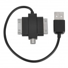 USB 2.0 to Apple 30-Pin + Samsung 30-Pin + Micro USB Data Charging Adapter Cable - Black (18cm)