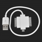 USB 2.0 to Apple 30-Pin + Samsung 30-Pin + Micro USB Data Charging Adapter Cable - White (18cm)