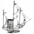 Creative Crafts Sailing Ship Style Iron Pen Holder - Deep Grey