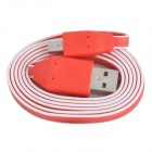 Stylish USB Male to Micro USB Male Charging Data Flat Cable - Red (100cm)