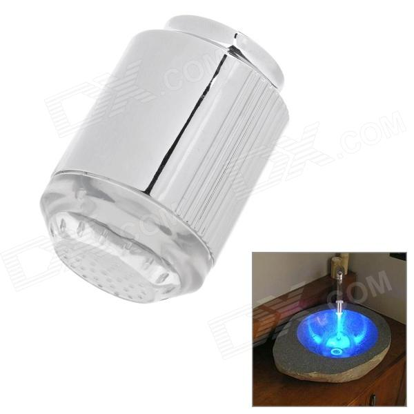 Mini Glow LED Water Temperature Shower Faucet Blue Light w/ Adapters - Silver