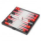 Travel Portable Folding Magnetic Backgammon Set - Red + Black