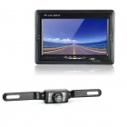 2-in-1 7&quot; LCD Car Vehicle Rearview Mirror Monitor + 2.4GHz Wireless Camera w/ 7 IR LED Set - Black