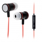 JTX JL-730 In-Ear Earphone w/ Microphone for Cell Phone - Red + Black (3.5mm-Plug / 112cm-Cable)