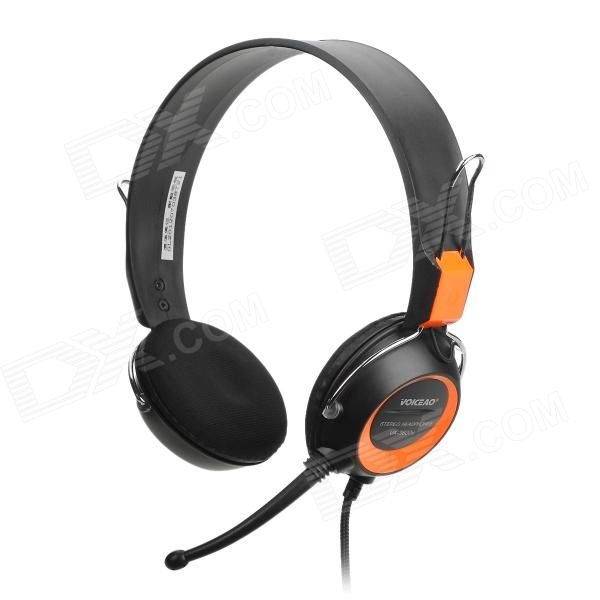VOICEAO VA-3600M Stereo Headphone w/ Microphone / Volume Control - Black (3.5mm Plug / 240cm-Cable)