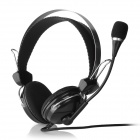 VOICEAO VA-781M Stereo Headphone w/ Microphone / Volume Control - Black (3.5mm Plug / 240cm-Cable)