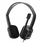 VOICEAO Stereo Headphone W/ Microphone / Volume Control - Black (3.5mm Plugs / 240cm-Cable)