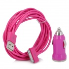 Автомобиль сигарет Powered зарядное ж / USB кабель для iPhone 4 / 4S - Deep Pink (DC 10 ~ 24V / 300см-кабель)