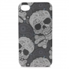 Protective Skull Head Pattern Plastic Back Case for Iphone 4 / 4S - Black + White