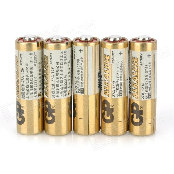 GP Disposable 27A Alkaline Batteries - Golden (5 PCS) gp disposable 800mah alkaline lr1 size n batteries golden 1 5v 2 pcs