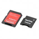 Genuine SanDisk TF / Micro SD Memory Card w/ SD / Mini SD Adapter - Black (2GB)