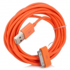 USB Male to 30 Pin Male Data / Charging Cable for iPhone 4 / 4S - Orange (300cm)