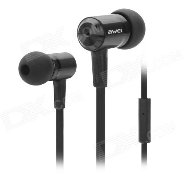 Stylish Awei ES-100i In-Ear Earphone w/ Microphone - Black (3.5mm Plug) awei stylish in ear earphone with microphone for iphone ipad more black 3 5mm plug