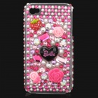 Bling Crystal Diamond Pearl Flower Protective Back Case Cover for Iphone 4 / 4S - Silver + Pink