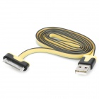 USB Male to 30 Pin Male Flat Data / Charging Cable for iPad / iPhone Series - Yellow(100cm)