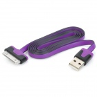 USB 2.0 Male to 30 Pin Male Flat Data / Charging Cable for iPad / iPhone - Purple + Black (100cm)