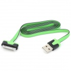 USB 2.0 Male to 30 Pin Male Flat Data / Charging Cable for iPad / iPhone - Green + Black (100cm)