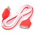 USB Male to 30 Pin Male Flat Data / Charging Cable for iPad / iPhone Series - Red + White (100cm)