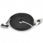 USB Male to Apple 30 Pin Male Flat Data / Charging Cable - Black (300cm)