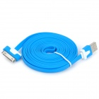 USB Male to Apple 30 Pin Male Flat Data / Charging Cable - Blue (300cm)