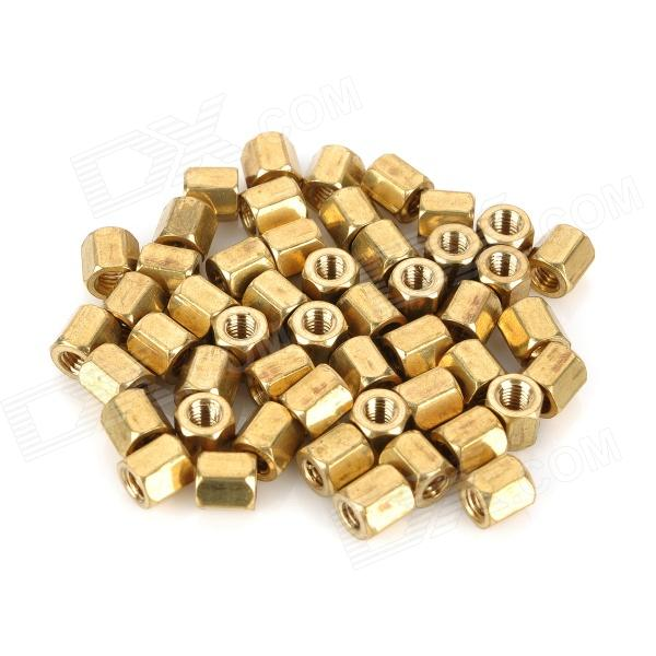 Two-Way M3 x 5mm Hexagonal Hollow Brass Pillars - Golden (50 PCS)