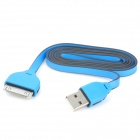 USB Male to 30 Pin Male Flat Data / Charging Cable for iPad / iPhone Series - Blue + Black (100cm)