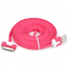 USB Male to Apple 30 Pin Male Flat Data / Charging Cable - Red (300cm)