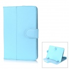 "Universal Protective 360 Degree Rotation PU Leather Case for 7"" Tablet - Light Blue"