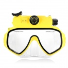 5.0MP Wide-Angle HD 720P 30m Diving Mask Camera w/ DV / 2-LED / Micro USB / 8GB TF - Yellow