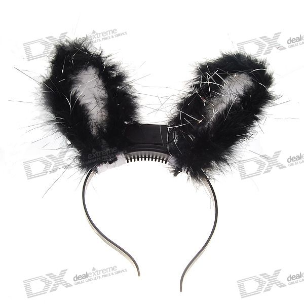 Flashing LED Rabbit Ear Head Band for Party (Color Assorted)