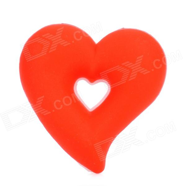Cute Heart Shape Silicone Earphone Cord Cable Winder Organizer - White + Red